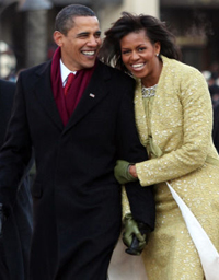 Barack and Michelle Obama during the inaugural parade