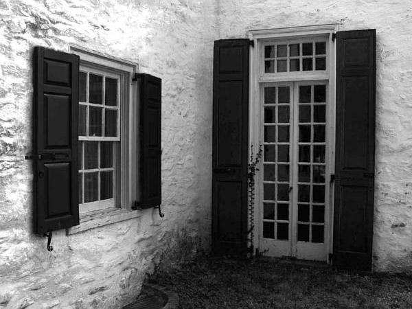 ominous black shutters